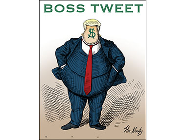 Trump made to resemble Boss Tweed as drawn by Thomas Nast