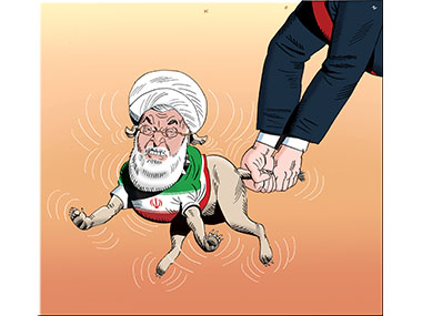 Arms swinging a Iranian dog by the tail.