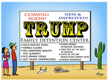 Family looking at a sign for the soon to be opened Trump Family Dentntion center.