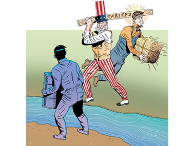 Uncle Sam hitting worker by accident while swinging Tariffs two by four.