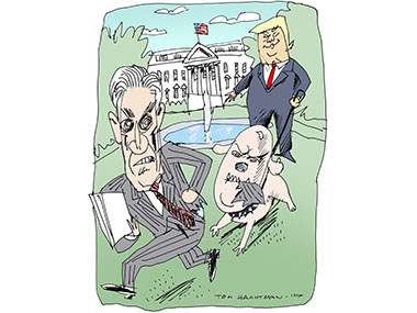 Mueller being chased by Trump with a dog that looks like AG Whitaker