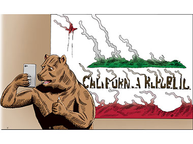 California Bear takes selfie with burned California flag