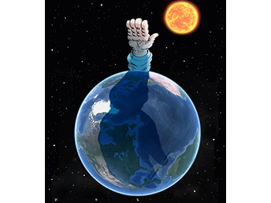 Giant hand makes facsist salute over planet earth